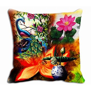 Peacock Floral Digitally Printed Cushion Cover