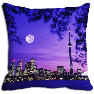 Blue Night City Digitally Printed Cushion Cover