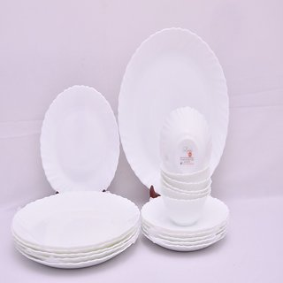 Larah 18 Pcs Dinner Set Fluted Snow