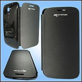 Flip Cover Micromax A116 Canvas HD Black Leather Replace Case