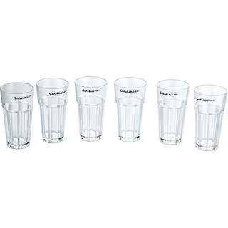 PC Water Glass Wavy 300ml - Unbreakable (Set of 6)