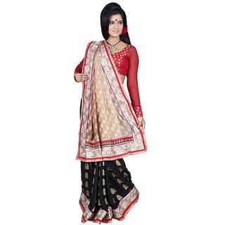 RITOJA Lahenga style saree. Cream black brasso silk combination embroidered.