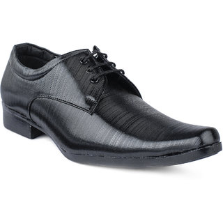 Foot n Style Mens Black Lace-Up Formal Shoes