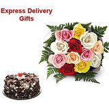 Buy Special Gifts Of Mix Roses And Cake