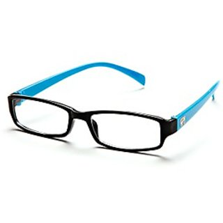 Black-Aqua Frame Rectangle Unisex Eyeglasses
