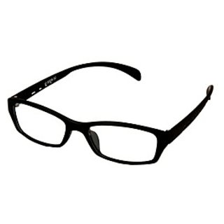 Black-Black Frame Rectangle Unisex Eyeglasses