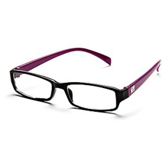 Black-Purple Frame Rectangle Unisex Eyeglasses