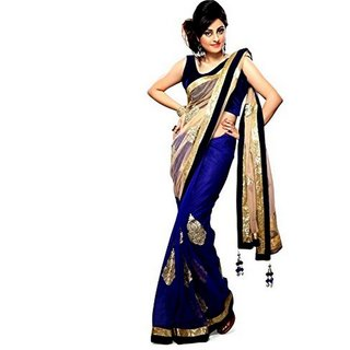 Aradhyashop Blue And Chikoo Border Embroidered Chiffon Designer Saree With Blouse