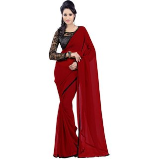Aaradhyashop Maroon And Black Border Embroidered Chiffon Designer Saree With Blous