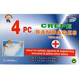 4pc Crepe Bandages With Clips, Ideal For Aches,sprains & Supporting Muscles