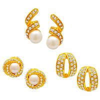 Sukkhi Gold Plated Pearl Earrings - Set of 3