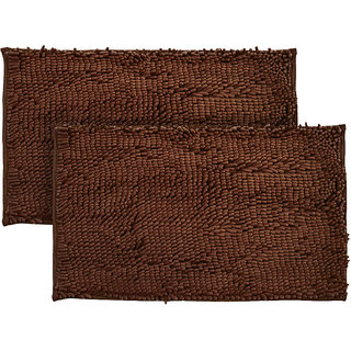 Just Linen Pair of Chenille Pom Pom Antiskid Saddle Brown Floor Mats