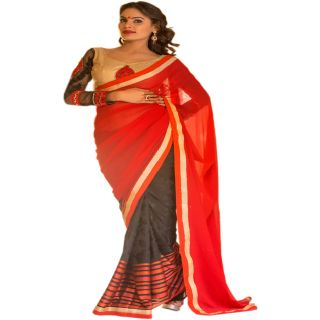 RED & BLACK COLOUR GEORGETTE SAREE WITH FANCY PALLU GR 8205