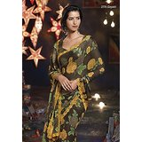 Aashi Dark Brown Georgette Printed Saree