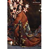 Aashi  Brown Georgette  Printed Saree