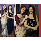 Aashi Bollywood Replica Cream Net Saree with Paper Silk Maroon Blouse
