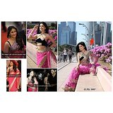 Aashi Bollywood Replica Pink Net  Saree with Black Velvet Blouse