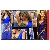 Aashi Bollywood Replica Blue Georget Saree with Black Dupian Blouse