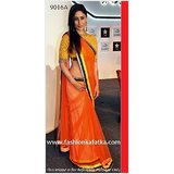 Aashi Bollywood Replica Orange Net Saree with Yellow Net Blouse