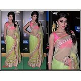 Aashi Bollywood Replica Green Net  Saree with Pink Dupian Blouse