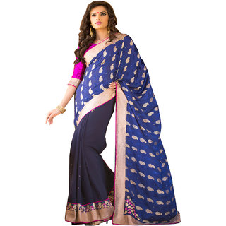 BLUE & BLACK COLOUR GEORGETTE SAREE WITH FANCY PALLU GR 8209