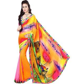 Anushree Women's Multicolor Georgette Saree (AnushreeKS1311)
