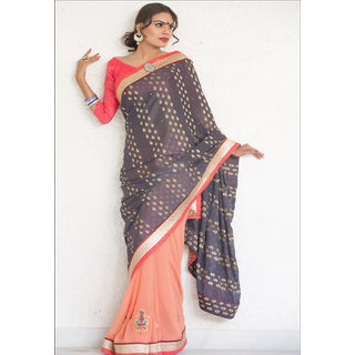 MULTI COLOUR GEORGETTE SAREE WITH FANCY PALLU GR 8216