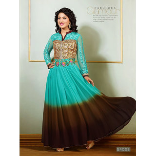 Beautiful designer Blue & Brown semi-stitched Anarkali Suit