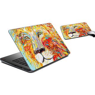 meSleep Painted Lion Laptop Skin And Mouse Pad