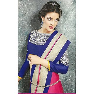 Pink and navy blue silk chiffon saree with grand blouse
