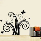 Swirl With Butterfly Wall Decal-Medium