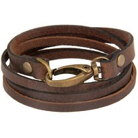 The jewelbox genuine brown leather dual strand free size wrist band