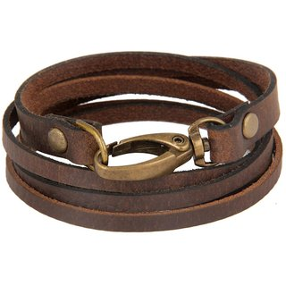 The jewelbox genuine brown leather dual strand free size wrist band