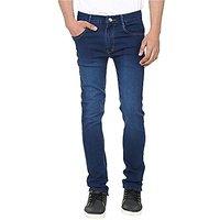 Blue Denim Mid Rise Jeans For Mens