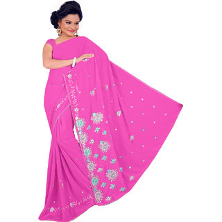NEARSHOP Beautiful Pink Color Fancy Georgette Saree