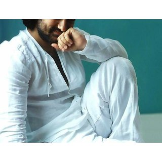 Aamir Khan Bollywood Style - White Linen Indo Western Sherwani Fabric