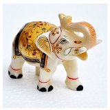 "Pair Of Marble Elephant 5"" With Hand Painted Work"