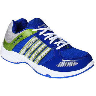 Columbus MenS Blue White Lace-Up Running
