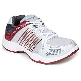 Columbus Mens Gray And Maroon Lace-up Running Shoes