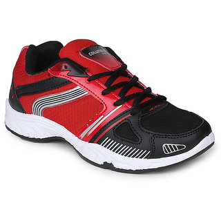 Columbus Mens Black And Red Lace-up Running Shoes