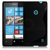 Pure Black S-Line Silicon Soft Gel TPU Gloss Case Cover For Nokia Lumia 520