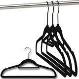 Set Of 5 Black Velvet Flocked Hangers With Tie Bar
