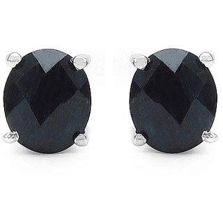 1.76CTW Genuine Sapphire .925 Sterling Silver Oval Shape Earrings