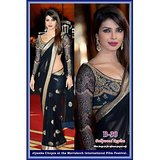 Priyanka Chopra Bollywood Replica Black Net Saree with Velvet Blouse