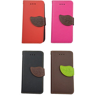 Leather Flip Case For iPhone 5 / 5 S / Pink Color