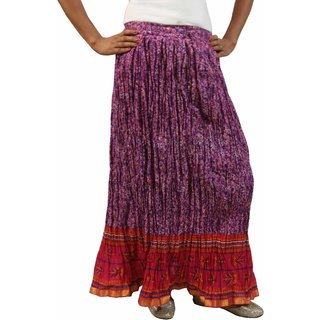 Saffron Craft Cotton Printed Purple  Pink Skirt
