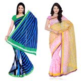 Fabdeal Super Net & Silk Kota Printed Saree Combo Of 2 JECR6543C8908RMVP