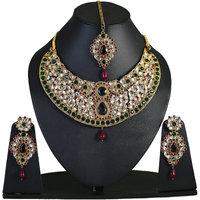 Touchstone Elegant Multicoloured Kundan Necklace Set With Maang Tika (DGNSK022-03KREG)