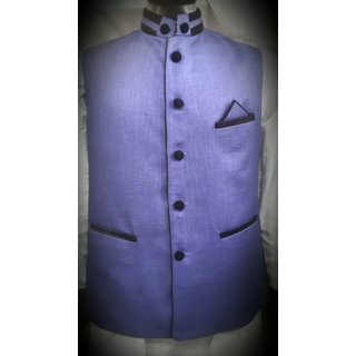 Sleeveless Nehru Purple Jacket