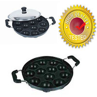 12pits Non-stick Appam Patra Maker With Stainless Steel Lid